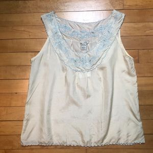 Odille | Anthro Embroidered Silk Cami Tank - NWT